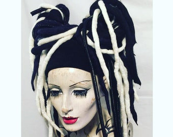 Wool Dreadlocks falls a MissNeedles exclusive design, 2 x bunches of dreads Monochrome White & black highlights of tubing  Hippy Punk Goth