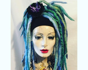 Ocean spray blended Mermaid aqua and turquoise wool  Dreadlocks falls a MissNeedles exclusive design 2 bunches of dreads goth hippy magical