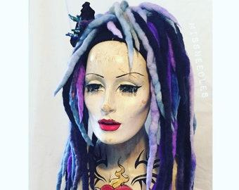Purple lilac storm cloud blend Wool Dreadlocks falls a MissNeedles exclusive design, 2 x bunches of dreads goth  hippy mermaid angel locks