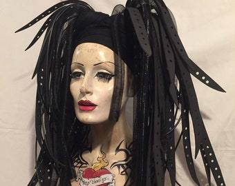 Gothic MissNeedles exclusive Cyberlox and rubber hair falls bunches hair pieces in all black  unisex cyberpunk Goth Industrial Fetish