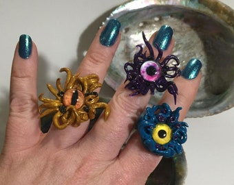 Mermaid jewellery adjustable finger ring other worldly goth steampunk beastie octopus kraken tentacles for any sized finger anime manga cute
