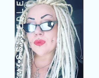 Diva deluxe cats eye horn rimmed retro hot rod Vampire goth retro diva sunglasses shades Disco Bitch Mirrored  Astro Vamp