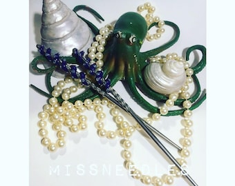Deep sea Mermaid Octopus Kraken Tentacle Goth Punk Deathrock Hair sticks pins for hair falls, dreads bohemian & spooky hair styles  purple