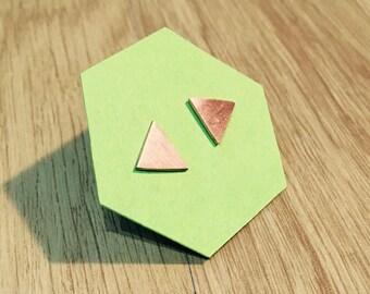Triangle stud earrings, Copper stud earrings, Minimalist earrings, Geometric stud earrings, Dainty stud earrings,
