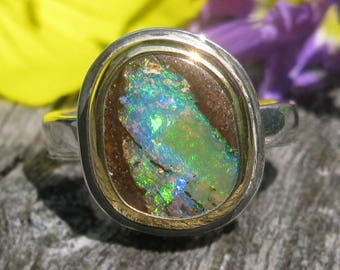 Silver Gold Opal Ring - Sterling Silver 22K Gold Australian Koroit Boulder Opal ring - US size 6 1/4 - mixed metal Opal ring - size 6.25