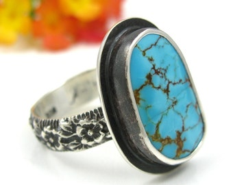 Turquoise Ring - Sterling Silver Turquoise floral ring - turquoise ring with flower band - size 7.75 - number 8 spider web - US size 7 3/4