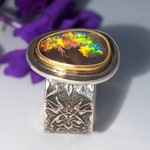 Australian Boulder Opal Ring - Sterling Silver 22K Gold Australian Opal ring - US size 6.75 - wide band Opal ring - size 6 3/4 opal ring