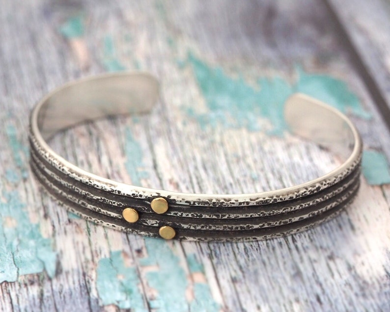 Sterling Silver Cuff Bracelet with 22K Gold accents  Unisex image 0