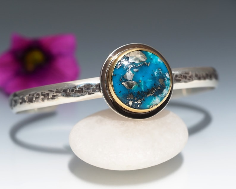 Turquoise Cuff Bracelet Sterling Silver with 22K Gold  Ithaca image 0