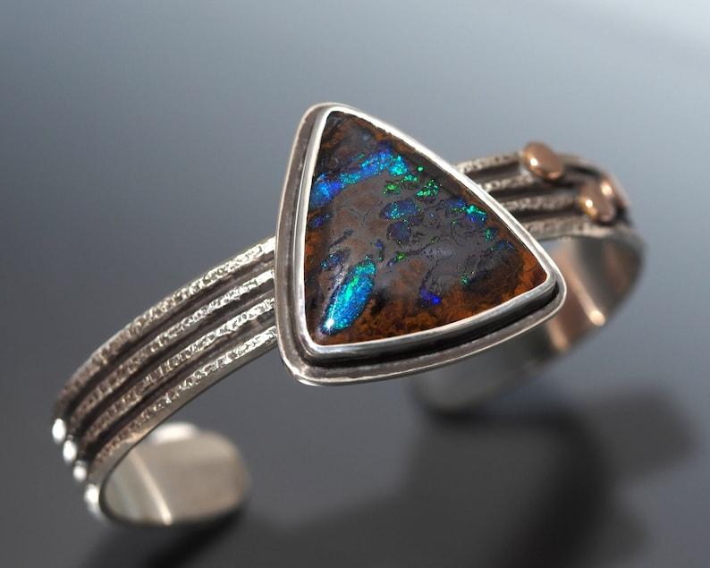 Boulder Opal Cuff Bracelet  Sterling Silver cuff bracelet image 0