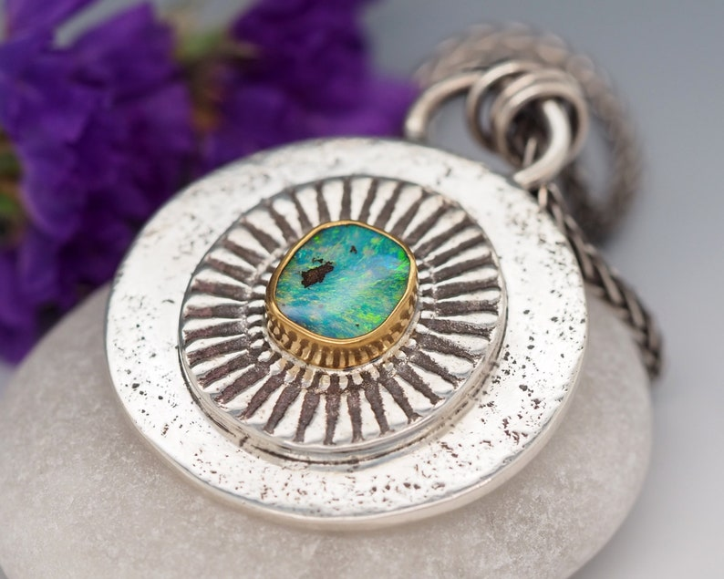 Australian Boulder Opal necklace Sterling Silver with 22K Gold image 0