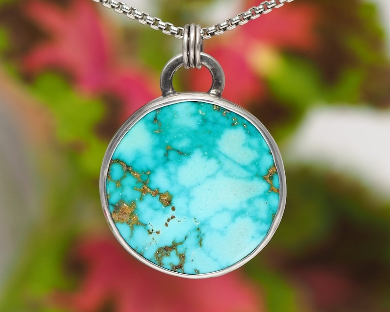 Sterling Silver Turquoise necklace  Natural Turquoise image 0