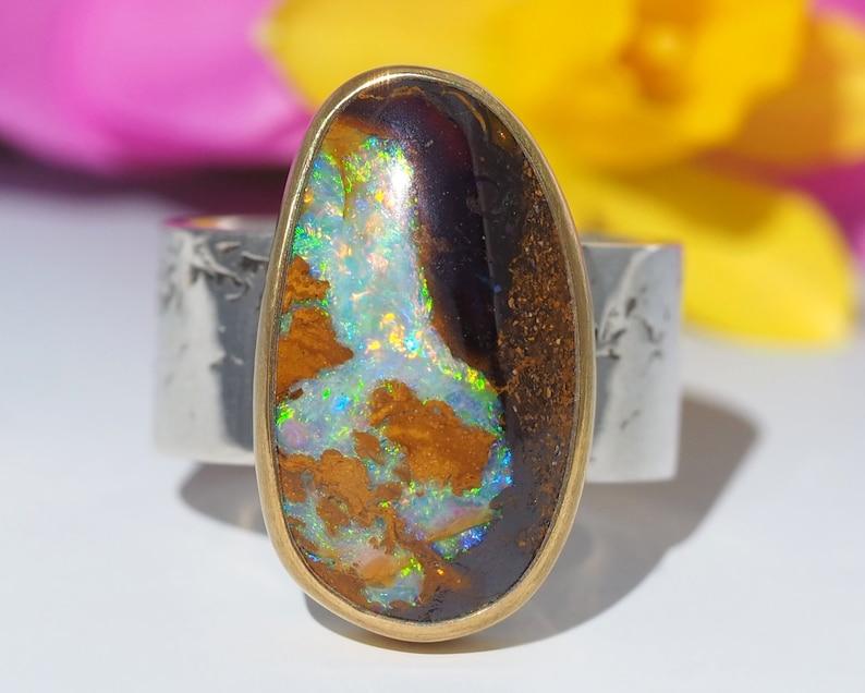 Sterling Silver 22K Gold Australian Boulder Opal ring  Opal image 0
