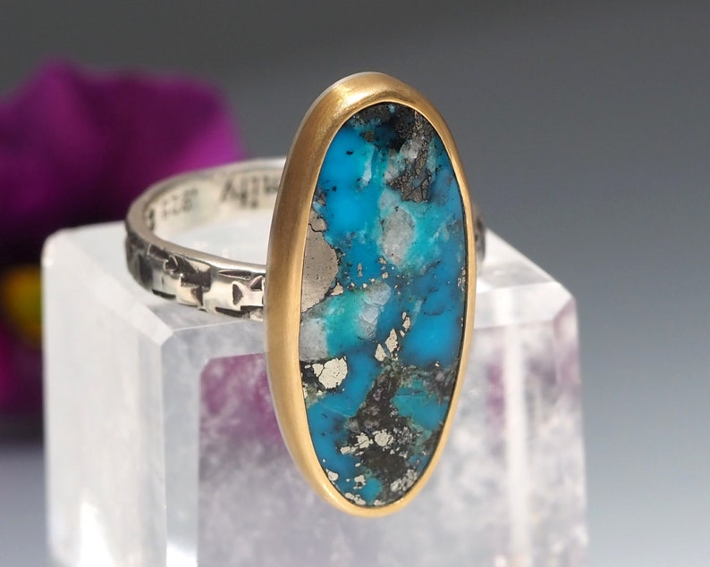 Turquoise Ring  22K Gold and Sterling Silver ring  Ithaca image 0