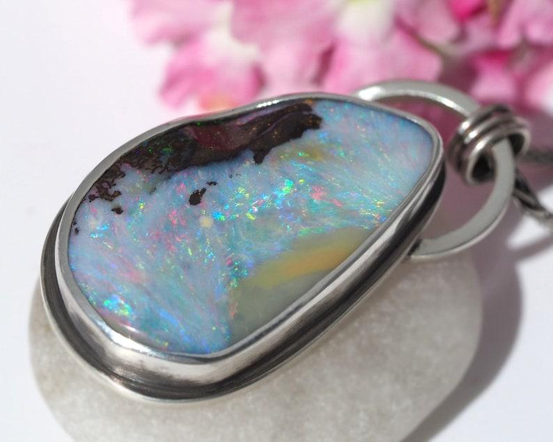 Australian Opal Necklace  Sterling Silver Pink Opal necklace image 0