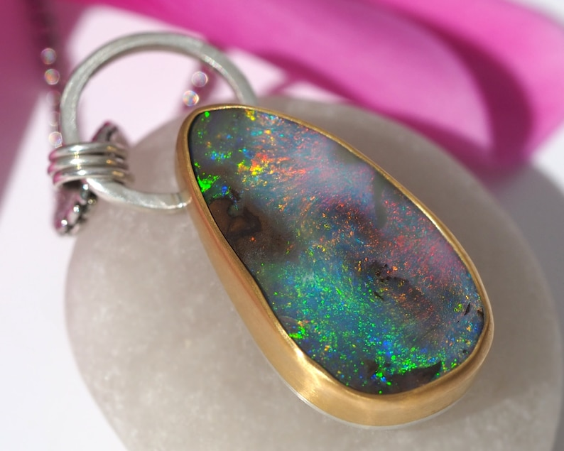 Australian Opal necklace Sterling Silver with 22K Gold  Gold image 0
