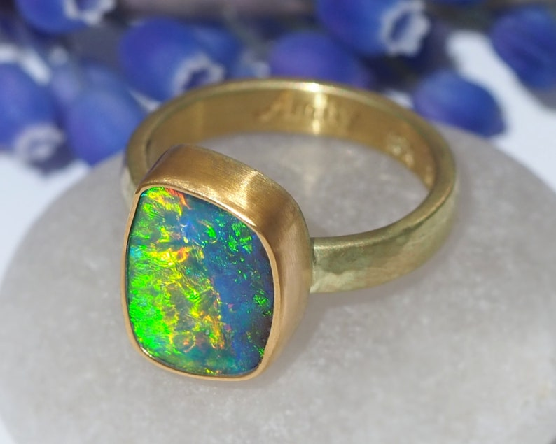 Opal Ring  18K and 22K Gold Australian Boulder Opal Ring  image 0