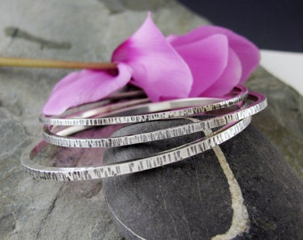 Set of 3 Sterling Silver Bangle Bracelets - Sterling Silver Bangle Set - Textured Sterling Bangles - size Large medium or Small