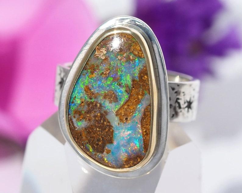 Opal Ring  Sterling Silver 22K Gold Australian Koroit Boulder image 0