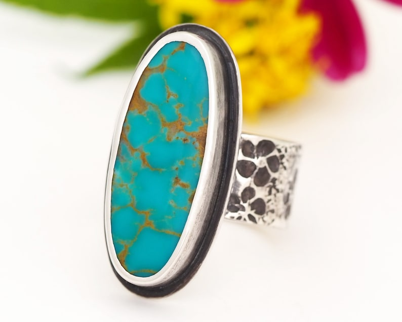 Royston Turquoise Ring  Chunky Sterling Silver Turquoise Ring image 0