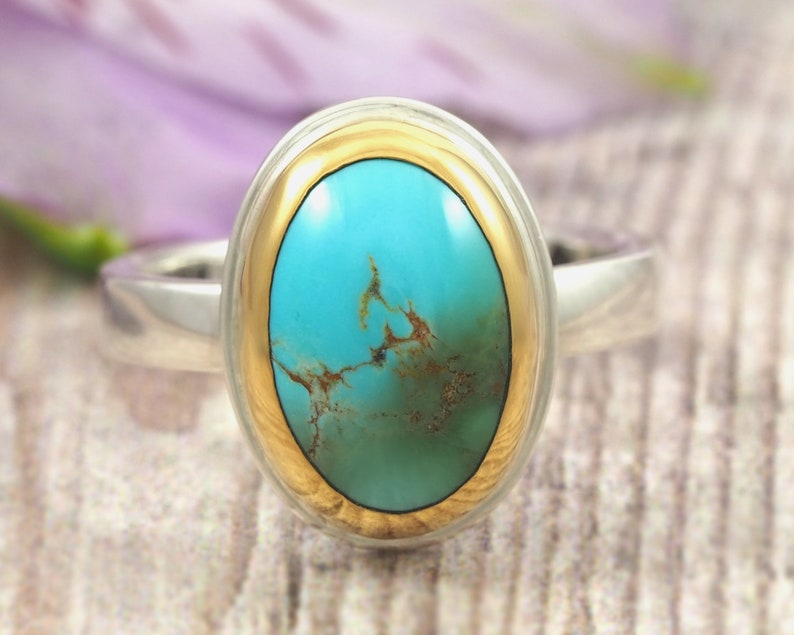 Turquoise Ring  22K gold and Sterling Silver turquoise ring  image 0