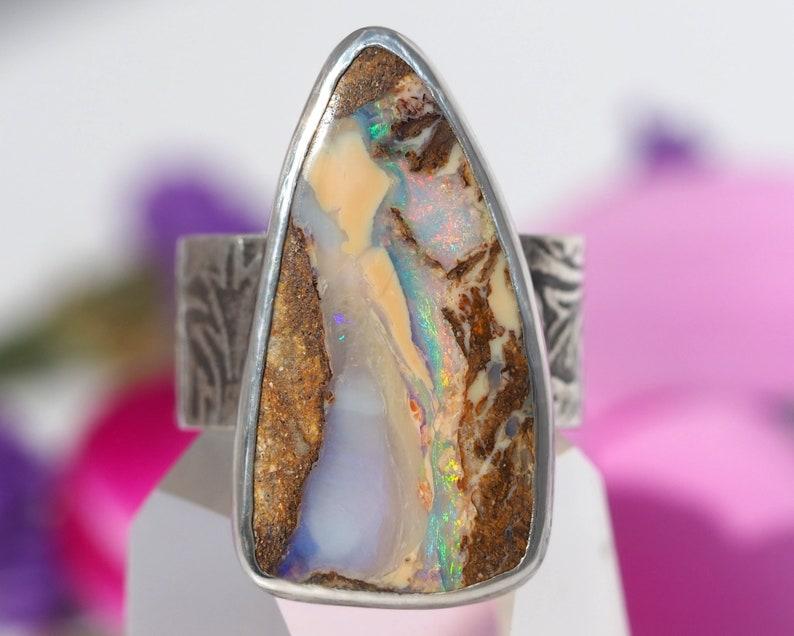 RESERVED  Australian Opal Ring  Sterling Silver Boulder Opal image 0