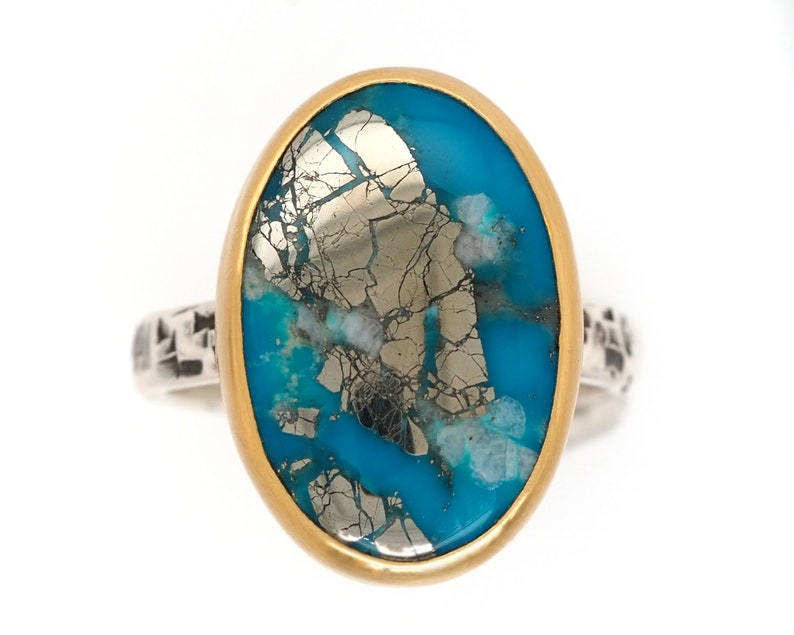 Turquoise ring 22K Gold and Sterling Silver  Ithaca Peak image 0