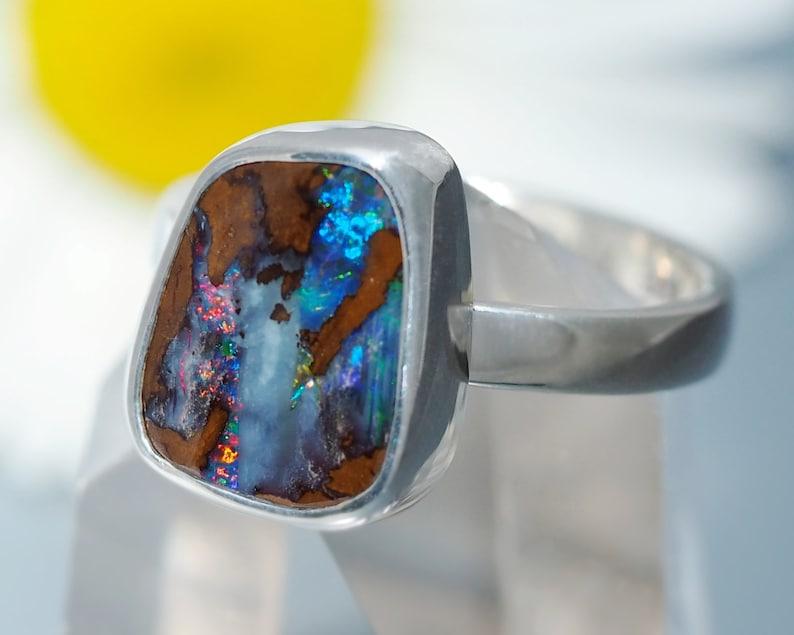 Australian Boulder Opal Ring  Sterling Silver Opal Ring  image 0
