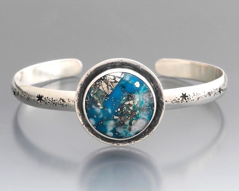 Ithaca Peak Turquoise Cuff Bracelet  Sterling Silver Rustic image 0