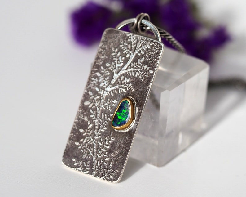Australian Boulder Opal necklace Sterling Silver with 22K Gold image 0