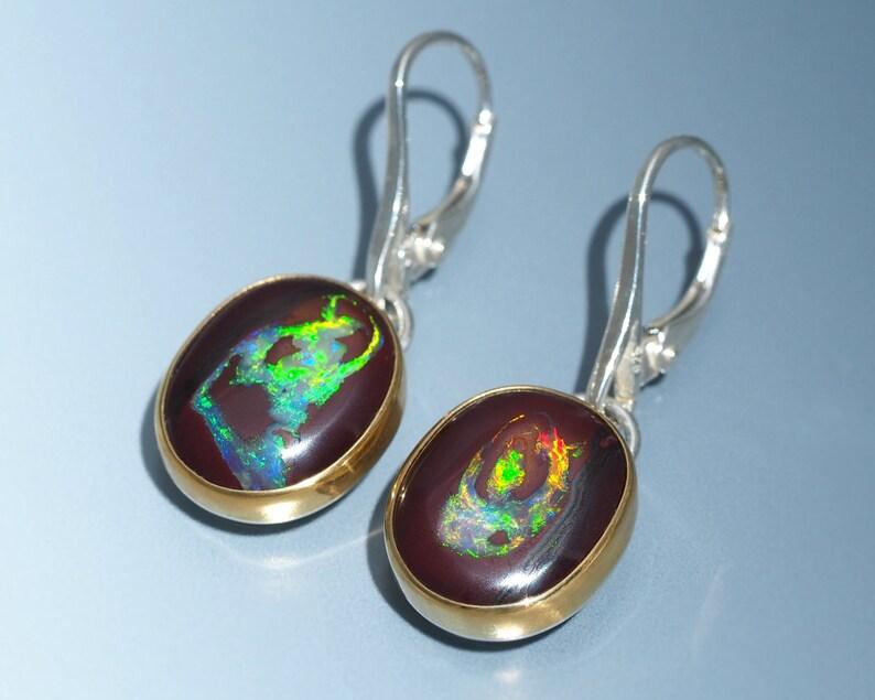 Opal Dangle Earrings  22K Gold and Sterling Silver Australian image 0