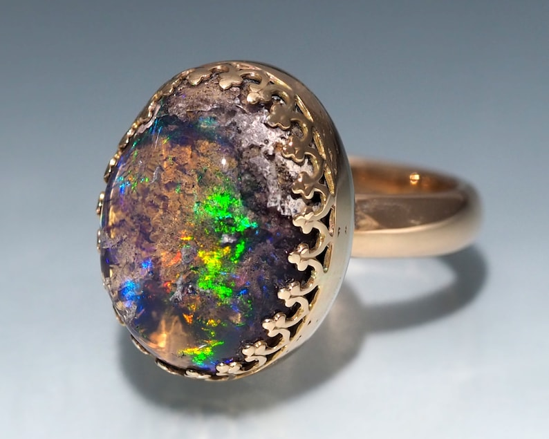 Gold Fire Opal Ring  14K Gold Mexican Fire Opal ring with image 0