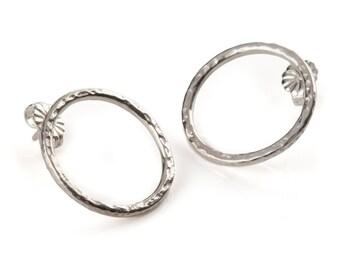 Silver Hammered Hoop Earrings: Ancient Awe