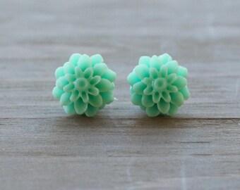 Seafoam Green Chrysanthemum Flower Earrings | Mum Earrings | Stud Earrings | Bridesmaid Gifts | Wedding Jewelry