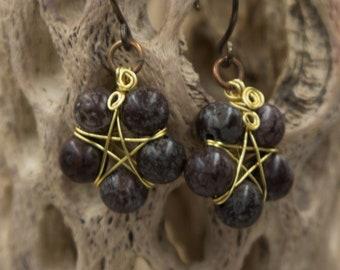 Beaded Pentacle Earrings