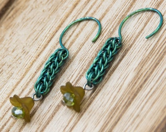 Green Chainmaille Full Persian Earrings