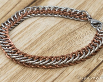 Chainmaille Half Persian Bracelet Steel and Copper