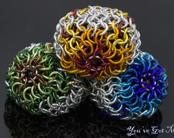 Trio of Chainmaille Juggling Balls