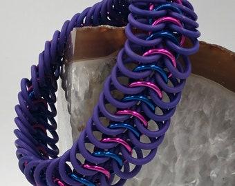 Bi Pride Stretchy Chainmaille Bracelet
