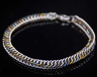 Sterling Silver and Niobium Chainmaille Bracelet