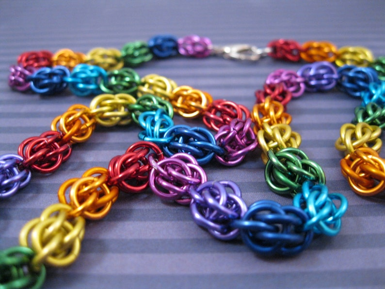 Rainbow Sweet Pea Necklace image 0
