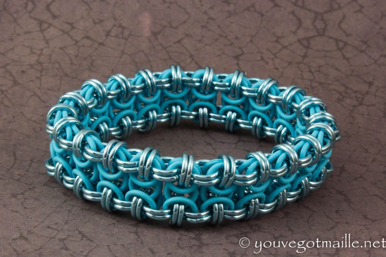 Stretchy Baby Blue Chainmaille Bracelet image 0