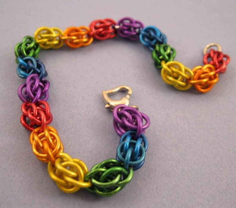 Rainbow Sweet Pea Chainmaille Bracelet image 0
