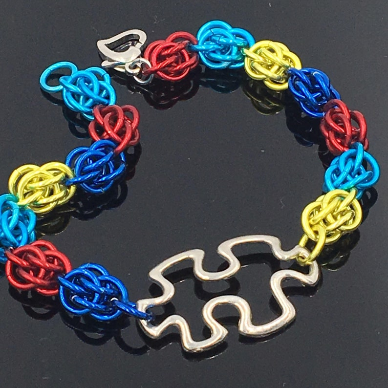 Autism Awareness Puzzle Chainmaille Bracelet image 0