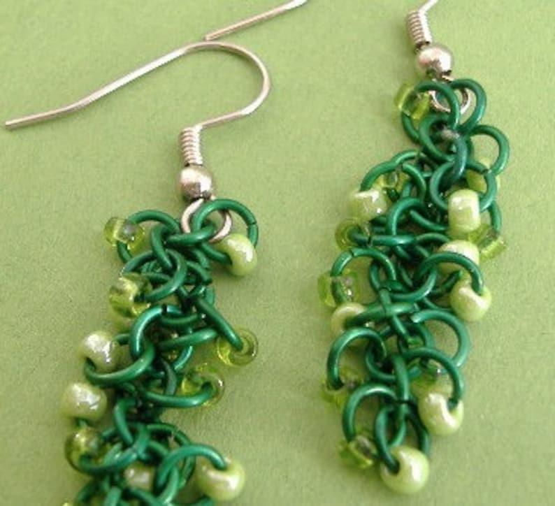 Ever Green  Beaded Shaggy Loops Earrings image 0