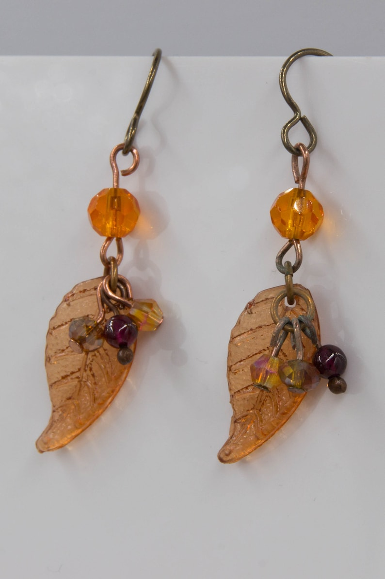 Leaf Earrings in Autumn Colors image 0