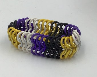 Nonbinary Pride Stretchy Chainmaille Bracelet