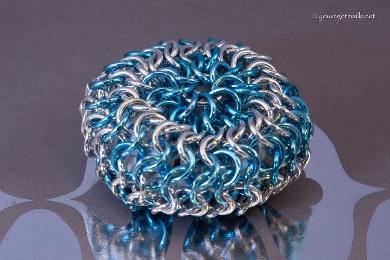 Blue and Silver Chainmaille Hackysack image 0