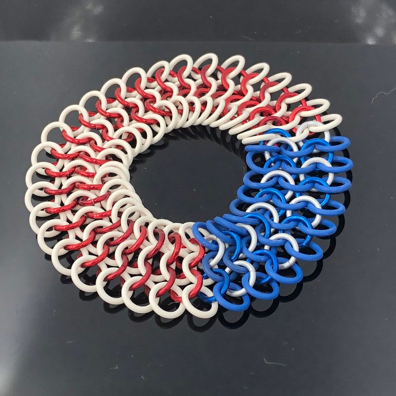 Patriot Red White and Blue Stretchy Chainmaille Bracelet image 0