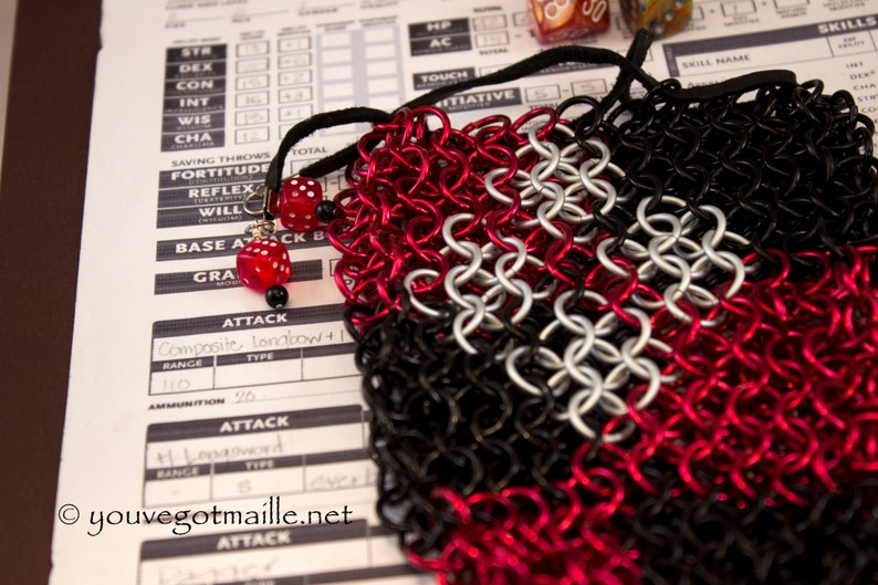 Harley Quinn Chainmaille Dice Bag image 0
